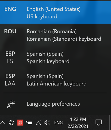 Each Windows 10 change keyboard language shortcut works with the language bar