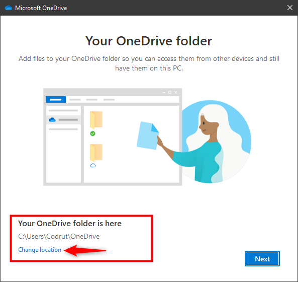 Selecting to Change location for OneDrive