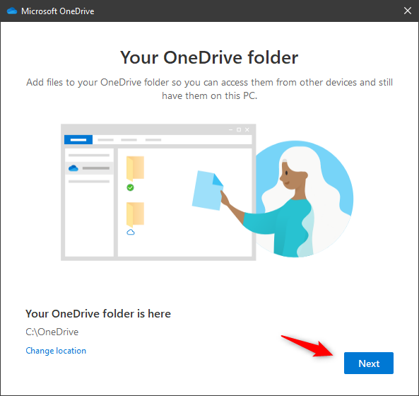 The location of OneDrive has been changed