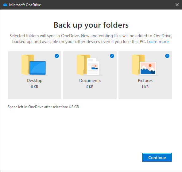 Choosing what folders are backed up to OneDrive