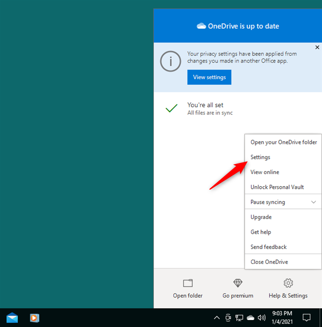 Opening the Settings for OneDrive
