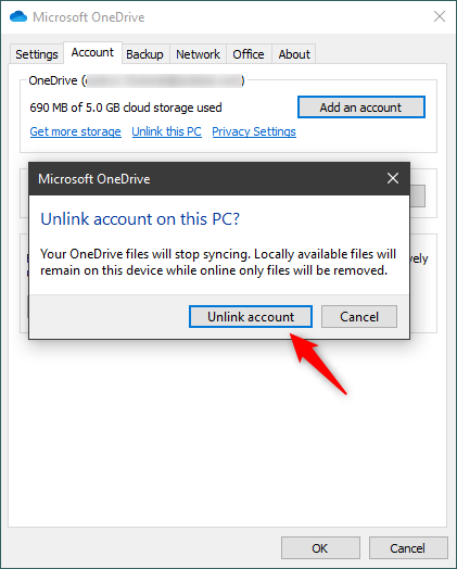 Unlink account from OneDrive