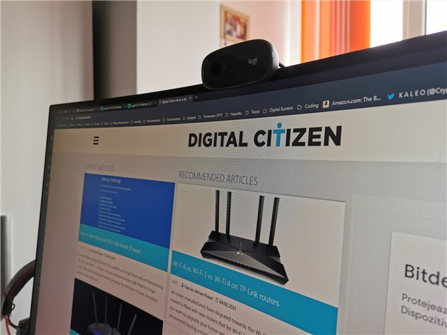 The Logitech C270 HD Webcam mounted on a monitor