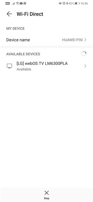 Using Wi-Fi Direct on an Android smartphone
