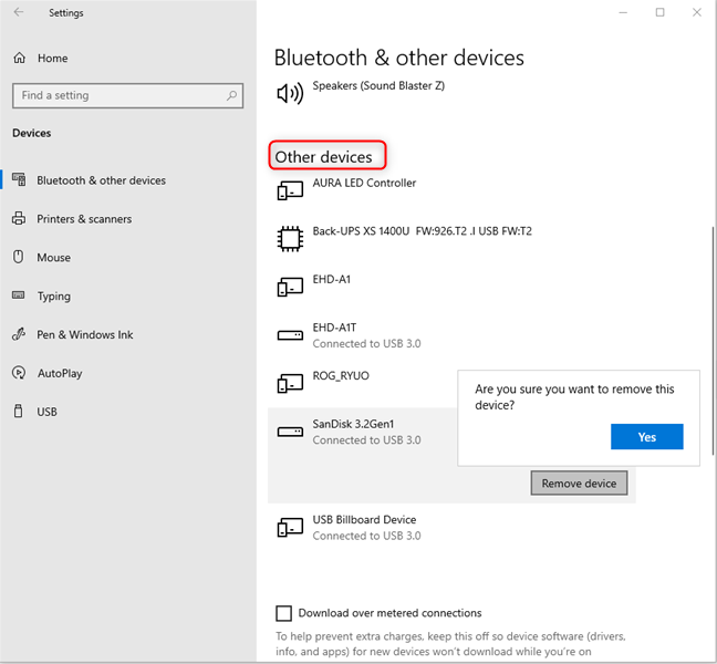 Select the drive you want to eject in Other Devices