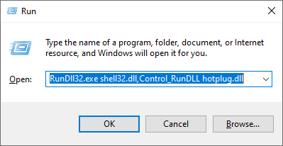 Use the Run window to access the Safely Remove Hardware window
