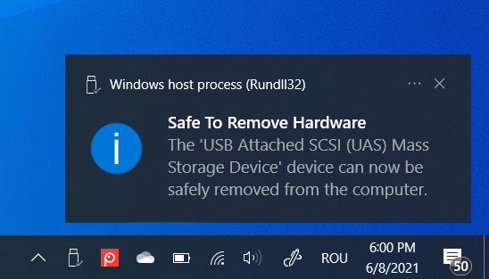 It is safe to remove hardware