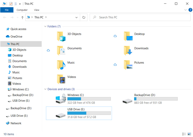 Find the device you want to eject in File Explorer