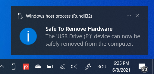 Now it is safe to remove hardware