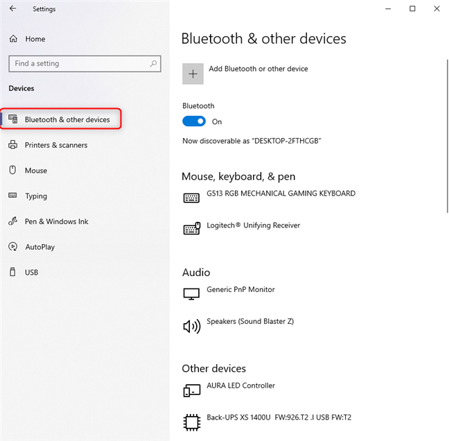 Go to Bluetooth & other devices