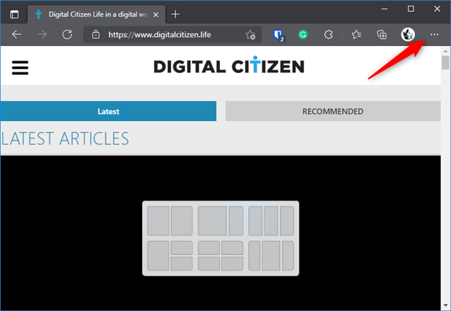 Opening the Settings and More menu from Edge