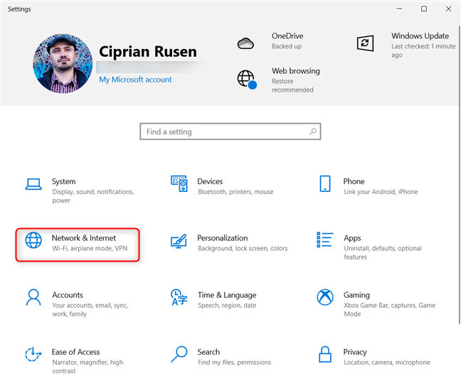 In Windows 10 Settings, go to Network & Internet