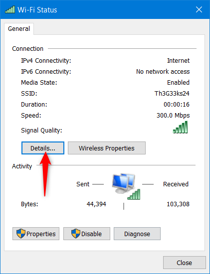 In Wi-Fi Status, click Details