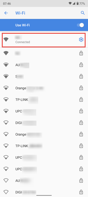 Tap the name of the Wi-Fi you are connected to