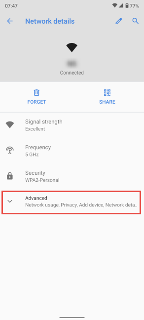 Tap Advanced in Network details