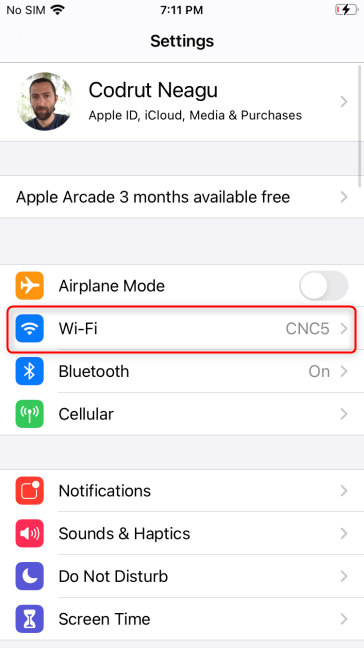In your iPhone's Settings, tap Wi-Fi