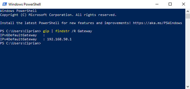 Find the router's IP from PowerShell