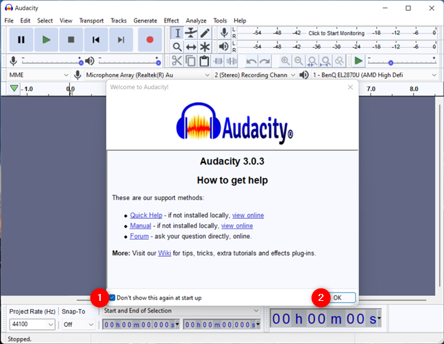 Get rid of the welcome window in Audacity