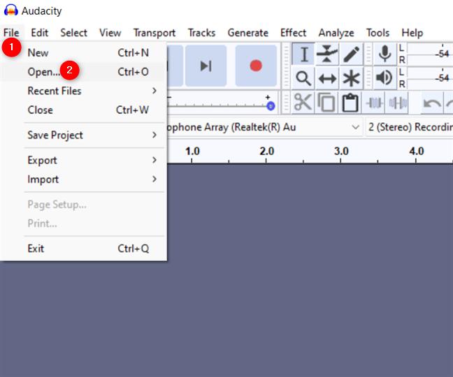 Press Open from Audacity's File menu