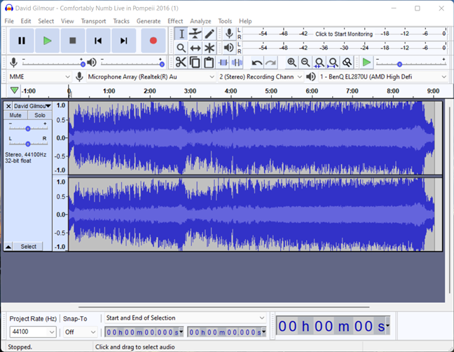 To reverse a song, you first have to load it into Audacity