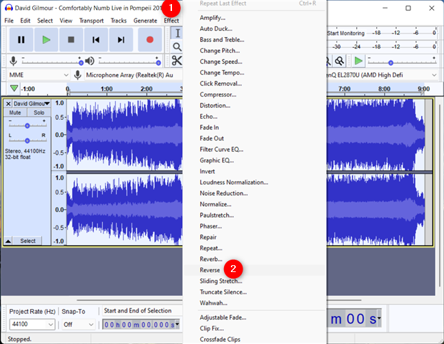 How to reverse a song in Audacity