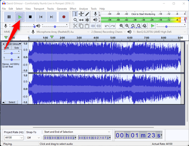 How to play a song backwards in Audacity