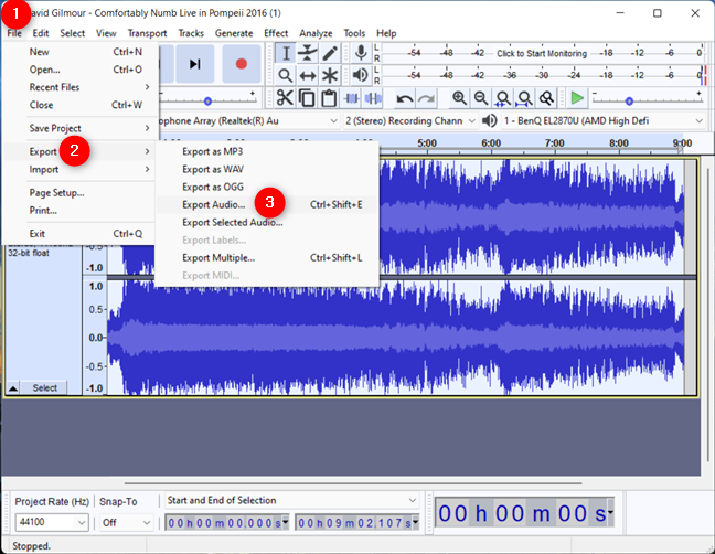 Choose to Export Audio