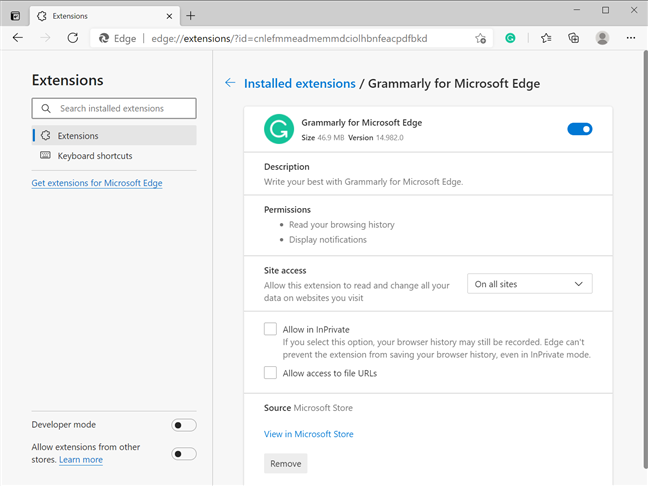 Set up your extension from Details