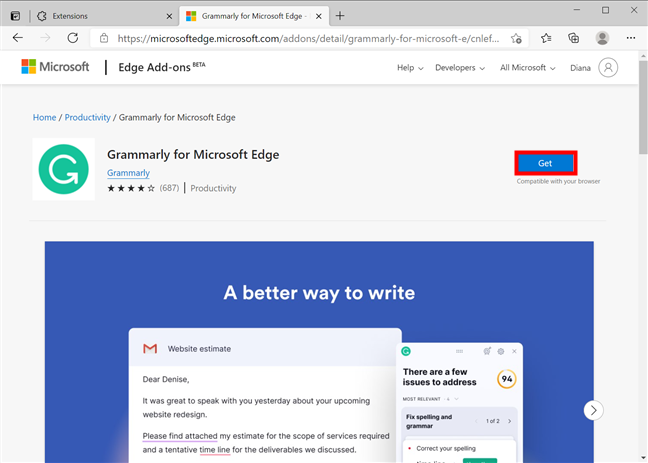 Press Get to include the extension in your browser