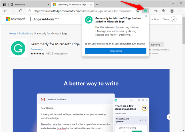 Microsoft Edge extensions add an icon to the browser