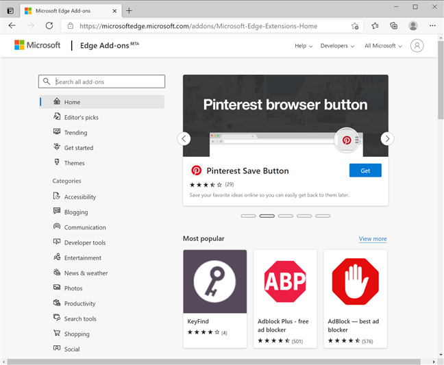 Get extensions or addons for Microsoft Edge