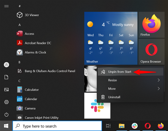 Remove apps from Start Menu in Windows 10 by unpinning them