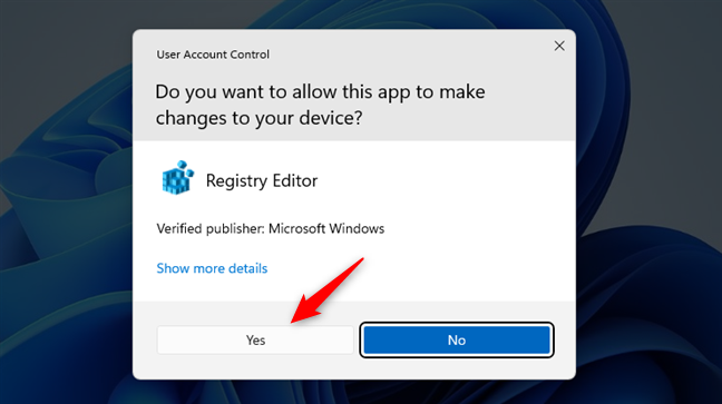 Allow Registry Editor to make changes to your PC
