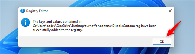 The information has been added to the Windows Registry