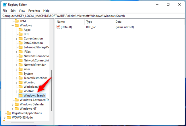 Naming the key Windows Search