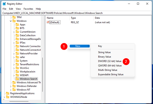 Creating a new DWORD key in Windows Search