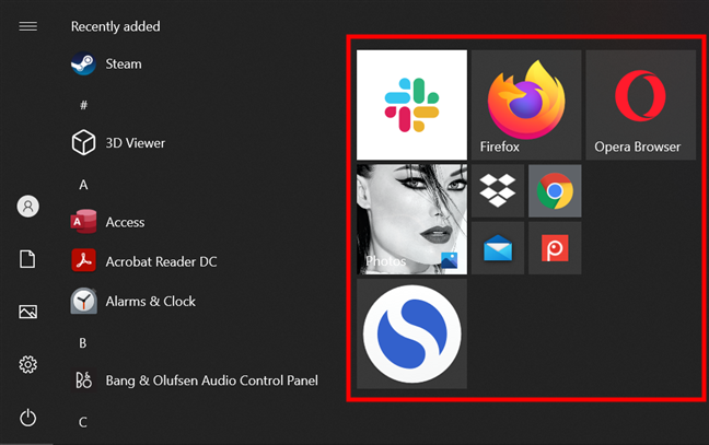 Clicking or tapping on any items pinned to Start Menu opens them