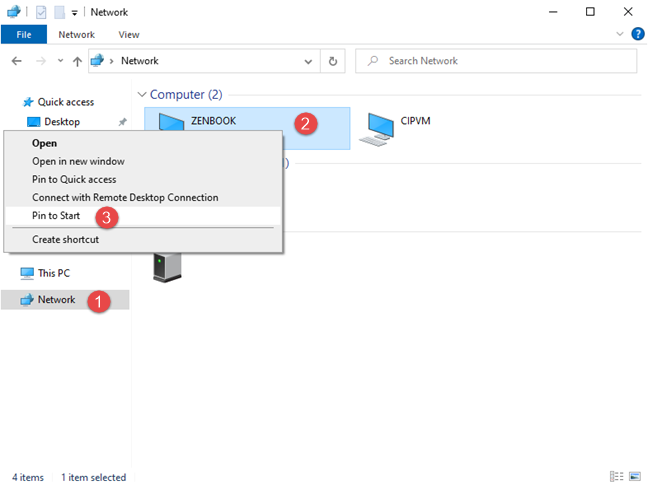 Pinning to Start Menu a computer from your network