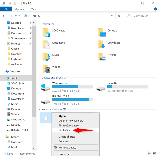 How to pin a network location to Start Menu