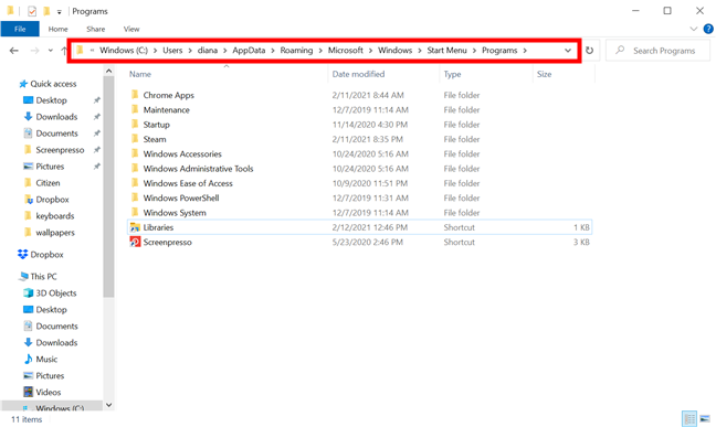 Insert the path in File Explorer's address bar