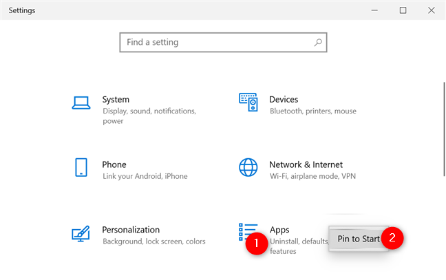 Pin to Start a settings category