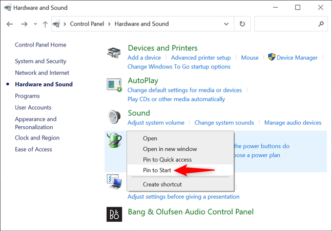 Pin to Start settings from the Control Panel