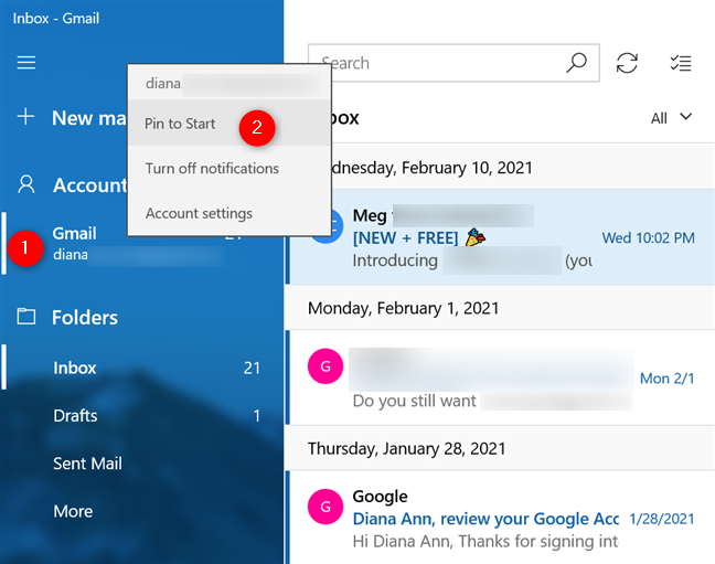 In Windows 10, pin to Start an email account