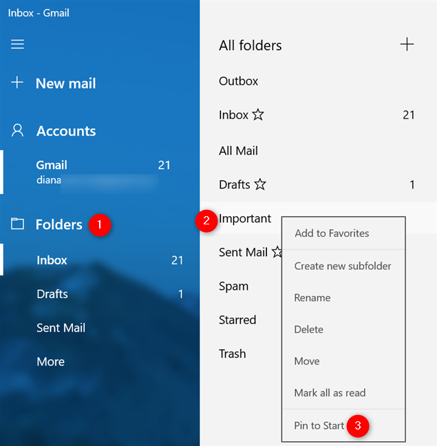 How to pin an email folder to Start in Windows 10