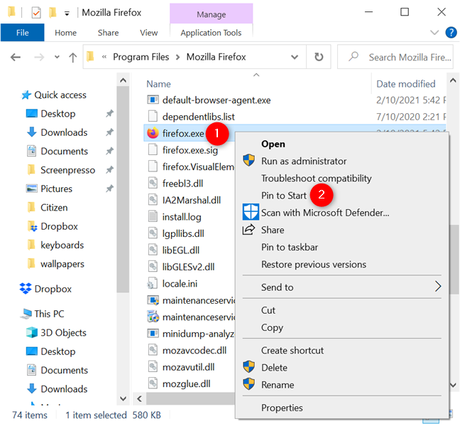 How to pin to Start Menu using an app's executable file