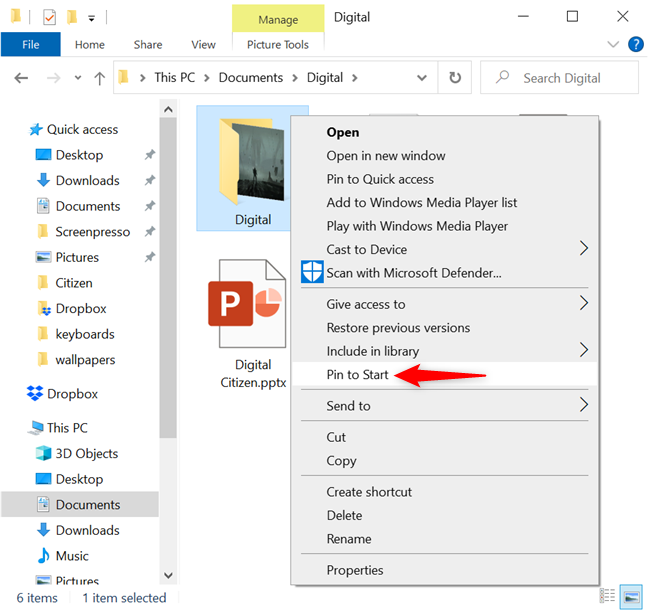 In Windows 10, pin a folder to Start from the right-click menu