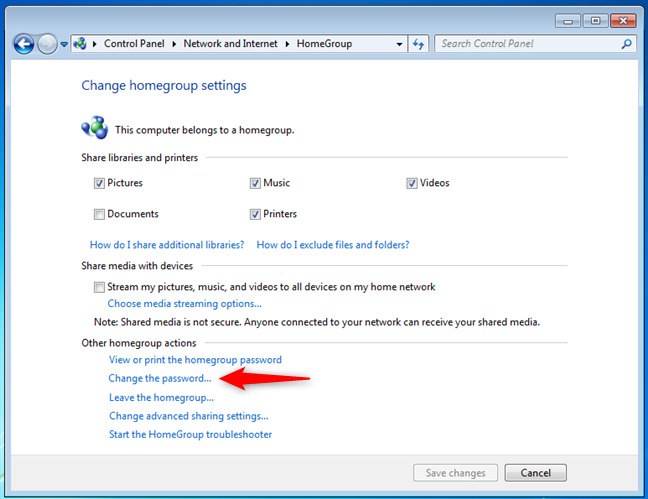 Change the password of the Windows 7 Homegroup