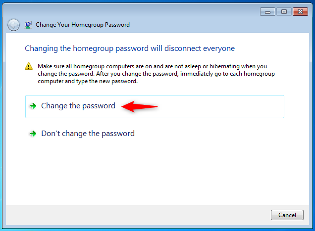 The Change Your Homegroup Password wizard