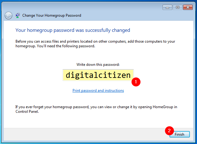 Your homegroup password was successfully changed