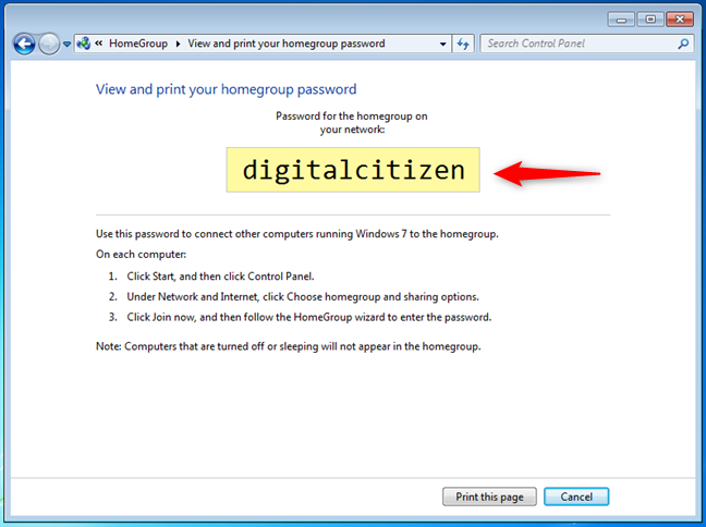 The Windows 7 Homegroup password